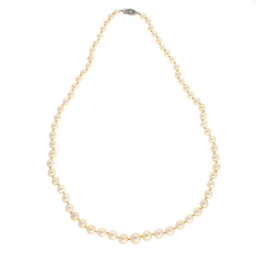 Vintage Japanese Akoya Cultured 5mm to 8mm Cultured Pearl Necklace 18 Inches