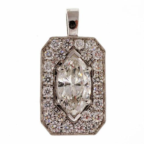 Peter Suchy .82 Carat Diamond Platinum Pave Pendant