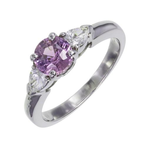 GIA Certified .97 Carat Blue Sapphire Diamond Platinum Engagement Ring