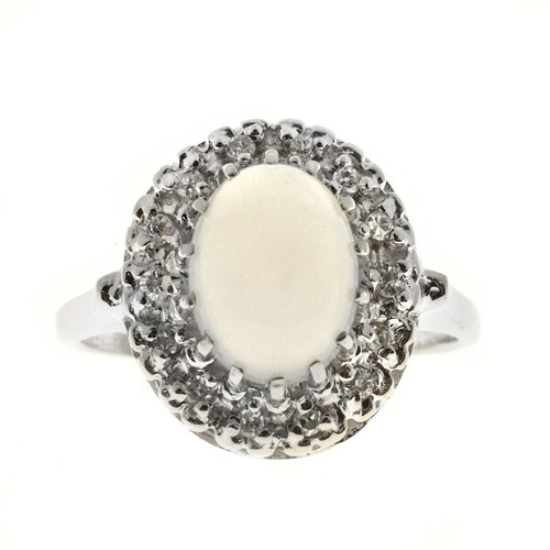 Vintage 1940 Translucent 1.10ct Blue Moonstone Diamond 14k White Gold Ring