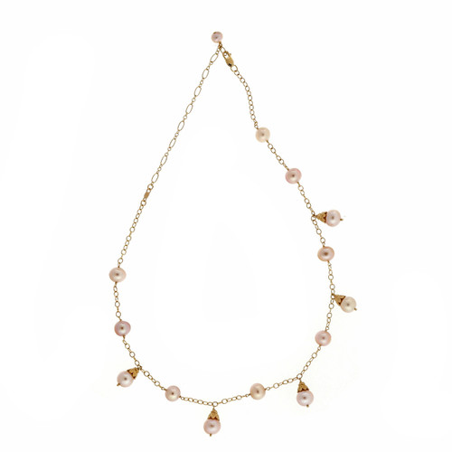 Estate Fashion Chinese Freshwater Pearl Necklace IPS 14k Yellow Gold