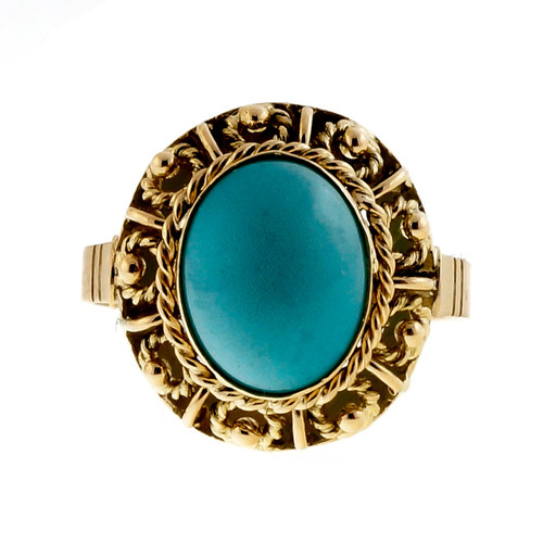 Vintage Estate 1960 Natural Turquoise 18k Yellow Gold Ring