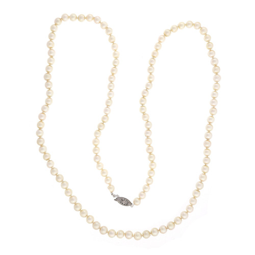 Estate 30 Inch Akoya Cultured 6mm Pearl Necklace 14k White Gold Catch