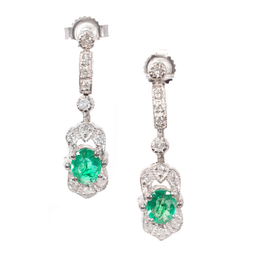 1960's .66ct Emerald Diamond Dangle Earrings