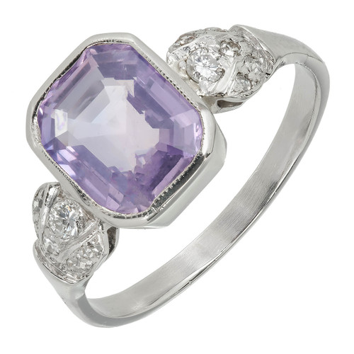 Art Deco 2.78 Carat Sapphire  Diamond Platinum Ring