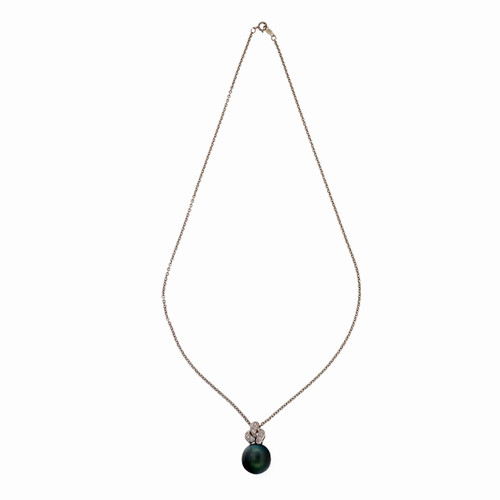 Estate 11.50mm Black Cultured South Sea Pearl 18k White Gold Diamond Pendant