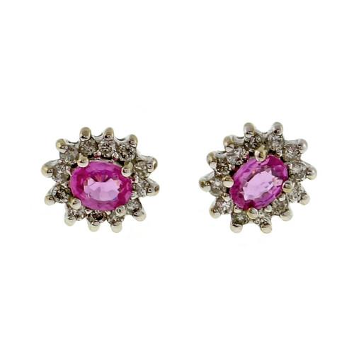Vintage Pink Sapphire .40ct Diamond 14k White Gold Diamond Cluster Earrings