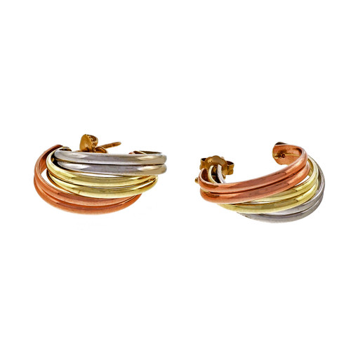 Estate Tri Color Yellow White Pink Gold Hoop 14k Earrings