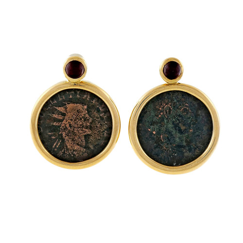 Estate Cassetti 18k Yellow Gold Ancient Roman Augusto 14 AD Coin Earrings