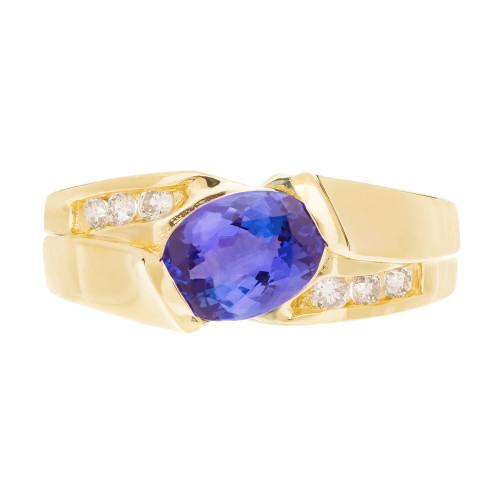 1.50 Carat Iolite Diamond 14k Yellow Gold Ring