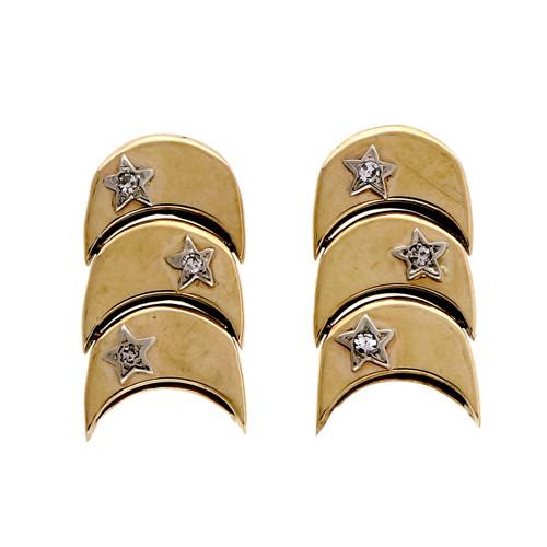 Vintage 1950 Crescent Hinged 3 Section Dangle Earrings Diamond Stars