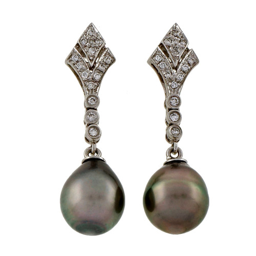 Estate Tear 9.5mm Black Cultured Pearl 14k White Gold Diamond Dangle Earrings