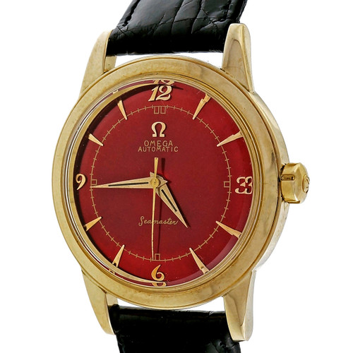 1960 Omega Seamaster Automatic 14k Yellow Gold Watch Custom Vivid Red Dial