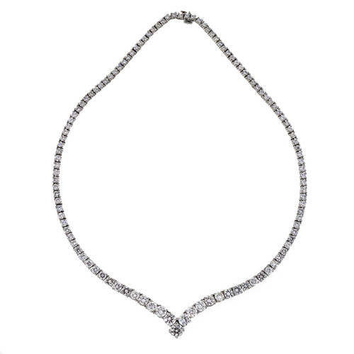 Vintage 1950 15.71ct Fine Riveria Platinum Diamond High Grade Necklace