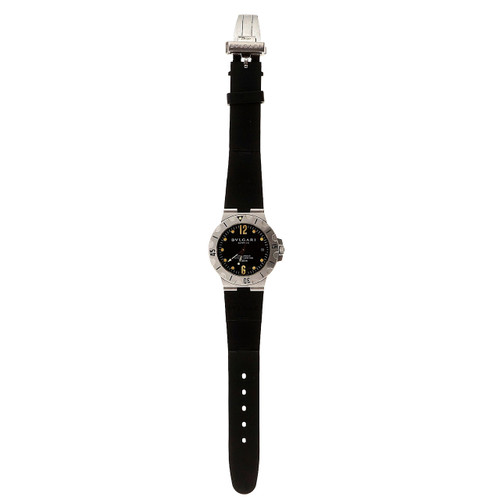 Bulgari Steel Automatic Chronometer Date Rubber Band Men's Wristwatch