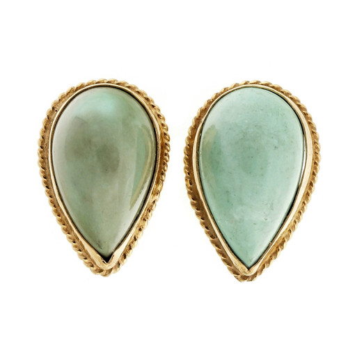 Estate 1950 14k Yellow Gold Pear Shape Untreated Turquoise Earrings