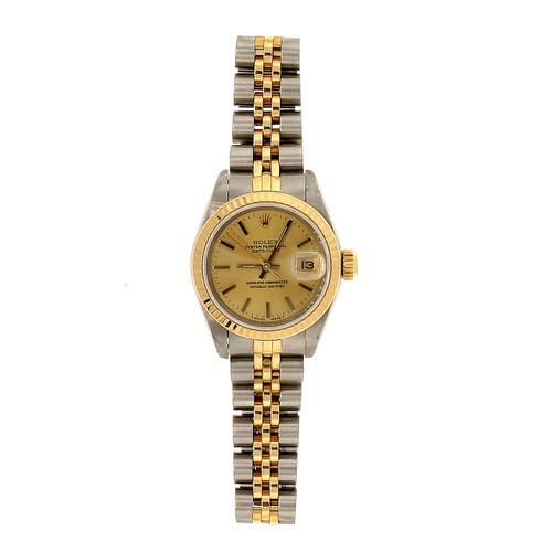 Rolex Yellow  Gold Steel 1991 Datejust Champagne Dial Ladies Wristwatch