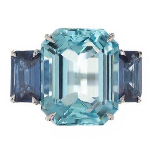 17.10 Carat Natural Aquamarine Sapphire Platinum Three Stone Ring