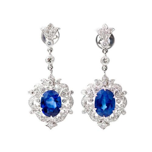 Art Deco 3.10 Carat Sapphire Diamond Platinum Dangle Earrings