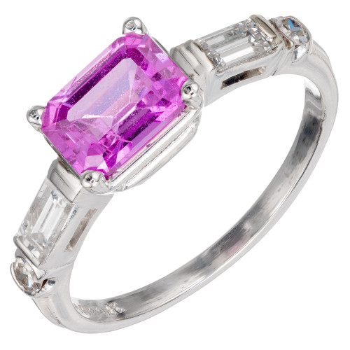 1.49 Carat Purple Pink Sapphire Diamond Platinum Ring