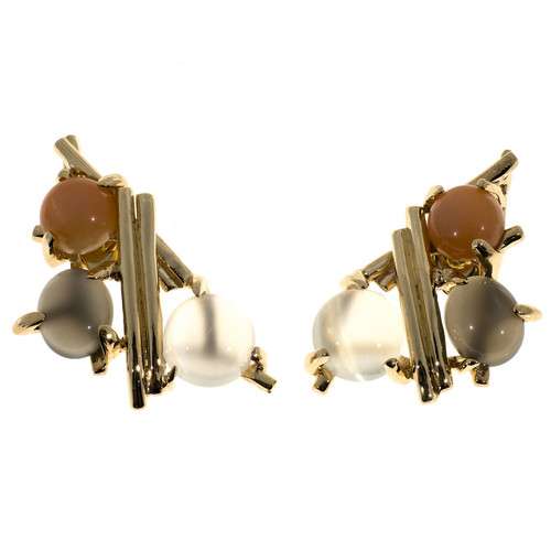 Estate 1970 Multi Color White Pink Grey Moonstone 14k Yellow Gold Earrings