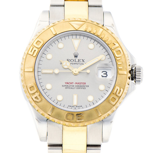 Rolex Yellow Gold Steel Yachtmaster Mid Size Wristwatch