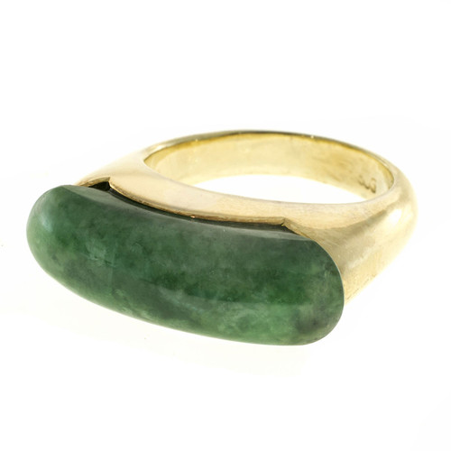 GIA Certified Natural Jadeite Jade Gold Saddle Ring