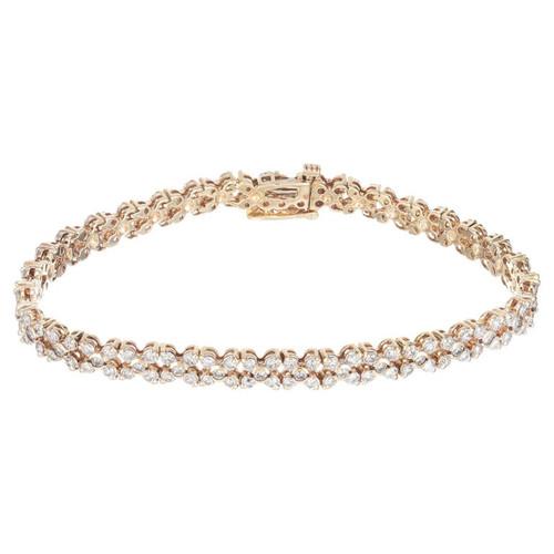 Estate Star Design 3.00ct Diamond Hinged Link 14k Yellow Gold Bracelet
