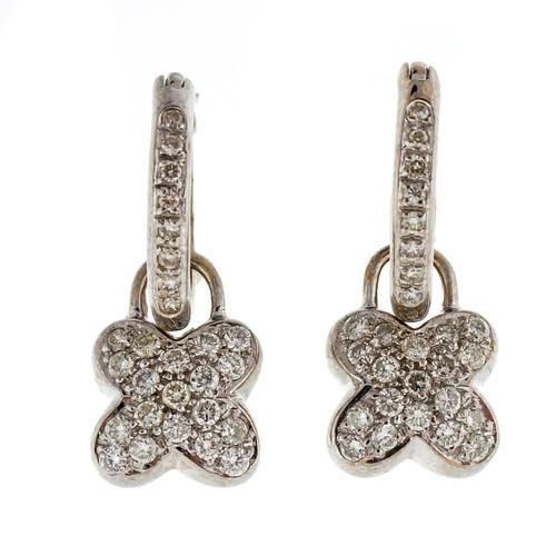 Estate Designer MK Diamond Hoop .54ct Dangle Earrings