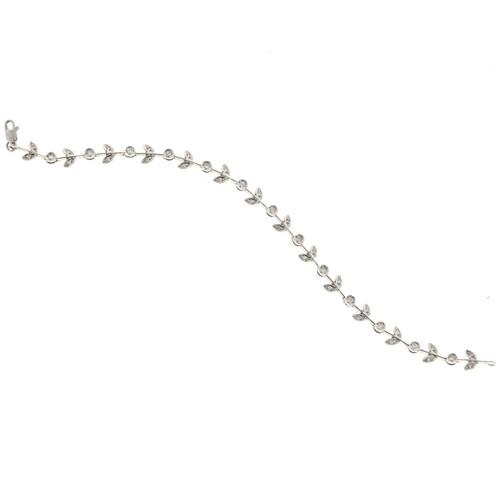 Estate Leaf Design 14k White Gold .93ct Diamond Bracelet