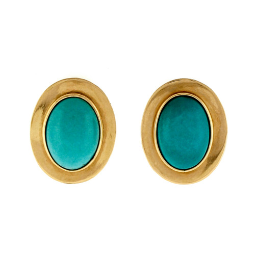 Vintage 1950 14k Natural Turquoise Yellow Gold Earrings