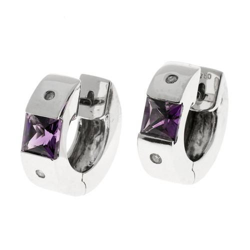 Estate .75ct Amethyst Diamond Huggie Hoop 18k White Gold Earrings