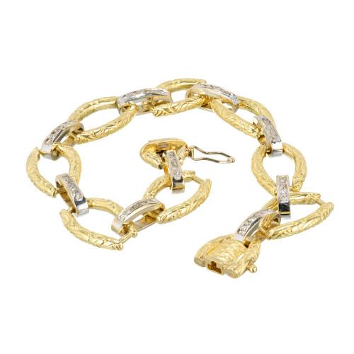 Vintage Estate 1960 18k Yellow Gold Textured Link Diamond Bracelet