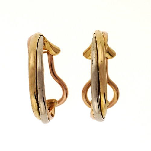Cartier Trinity Yellow White Rose Gold Non Pierced Hoop Earrings