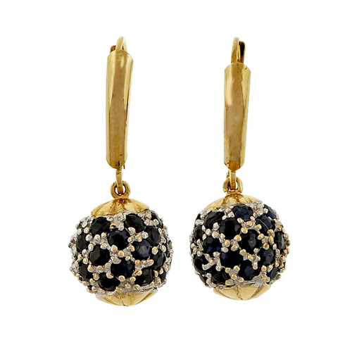 Estate Ball Dangle Earrings 3.00ct Sapphire 14k Yellow Gold