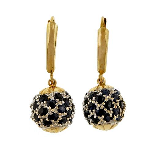Estate Ball Dangle Earrings 3.00ct Sapphire 14k Yellow Gold