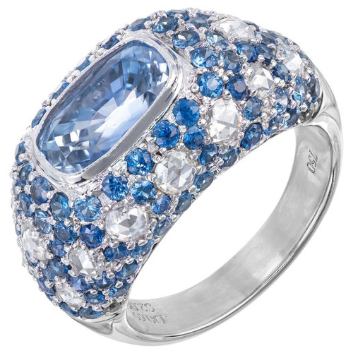 5.91 Carat Sapphire Diamond Gold Dome Cocktail Cluster Ring