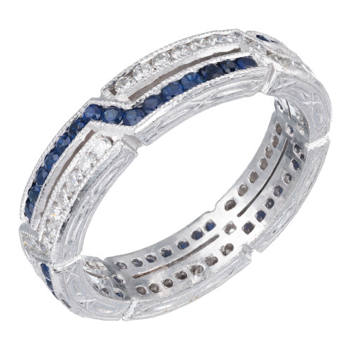 1.10 Carat Sapphire Diamond Platinum Crisscross Design Band Ring