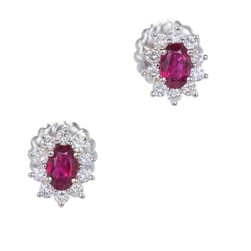 1.30 Carat Ruby Diamond White Gold Cluster Earrings