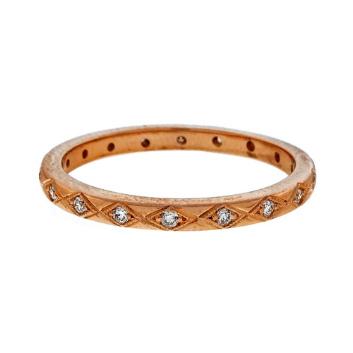 Pink Gold .25ct Antique Style PSD Eternity Band Ring 18k Gold