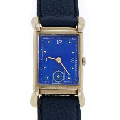 Vintage 1949  14k White Gold Bulova Custom Colored Blue Dial Watch