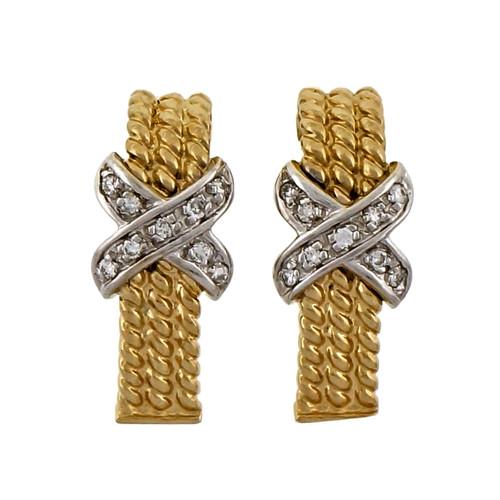 """Vintage 3 Row 14k Yellow White gold Diamond """"X"""" Earrings"""