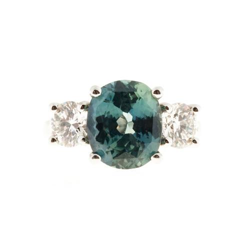 Peter Suchy Blue Green Sapphire Platinum Diamond Engagement Ring