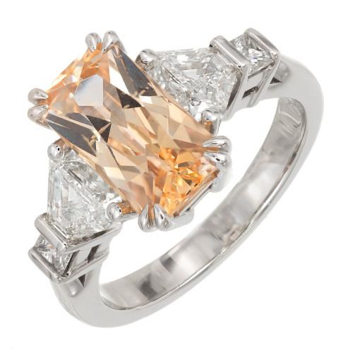 Peter Suchy Orange Yellow Sapphire Trapezoid Diamond Platinum Ring