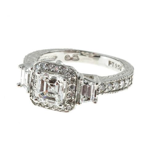 Peter Suchy  Asscher Cut Diamond Pave Trapezoid Round Platinum Ring