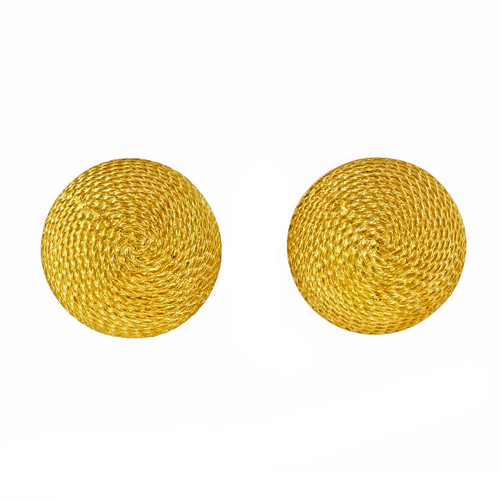 Vintage 1960 18k Yellow Gold Textured Domed Button Style Earrings