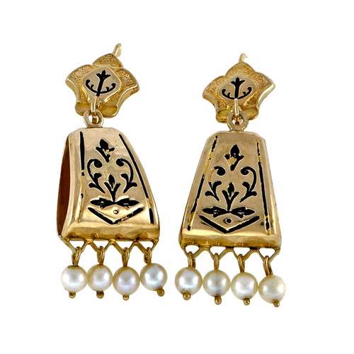 Vintage 1930 Victorian Revival 14k Yellow Gold Cultured Pearl Dangle Earrings