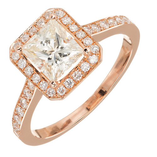 GIA Certified Peter Suchy 1.00 Carat Diamond Halo Rose Gold Engagement Ring