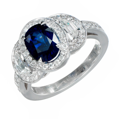 Estate 1.89ct Certified Sapphire PSD Suchy Engagement Diamond Triple Halo Ring