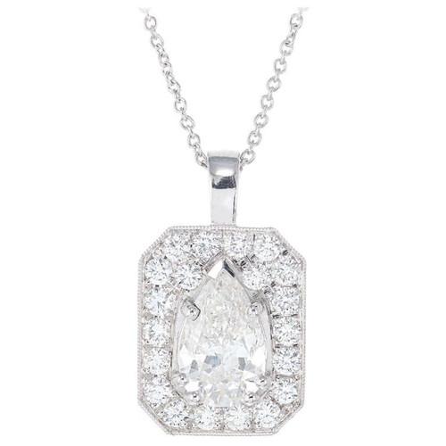Peter Suchy EGL Certified 1.43 Carat Diamond Platinum Pendant Necklace